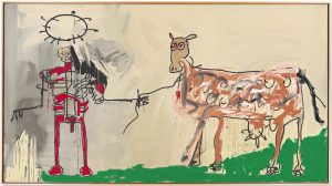 TheFieldNexttotheOtherRoad-1981 Jean Michel Basquiat The Field Next to the Other Road, 1981 Acrilico, smalto ad aerografo, pastello a olio, pittura metallica e inchiostro su tela, cm 221x401,3 Mugrabi Colloection The Estate of Jean-Michel Basquiat by Siae 2016